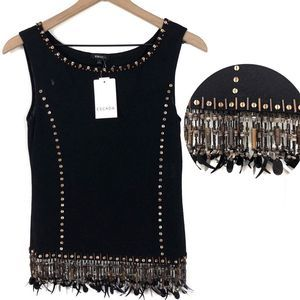NWT Escada New Wool Embellished Beaded Fringe Tank